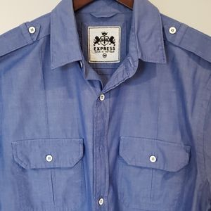 EXPRESS Short-Sleeved Blue Shirt